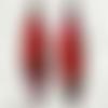 """Boucles d'oreilles  multicolores avec motifs floraux: en relief : """"alambra"""" - rouge"""