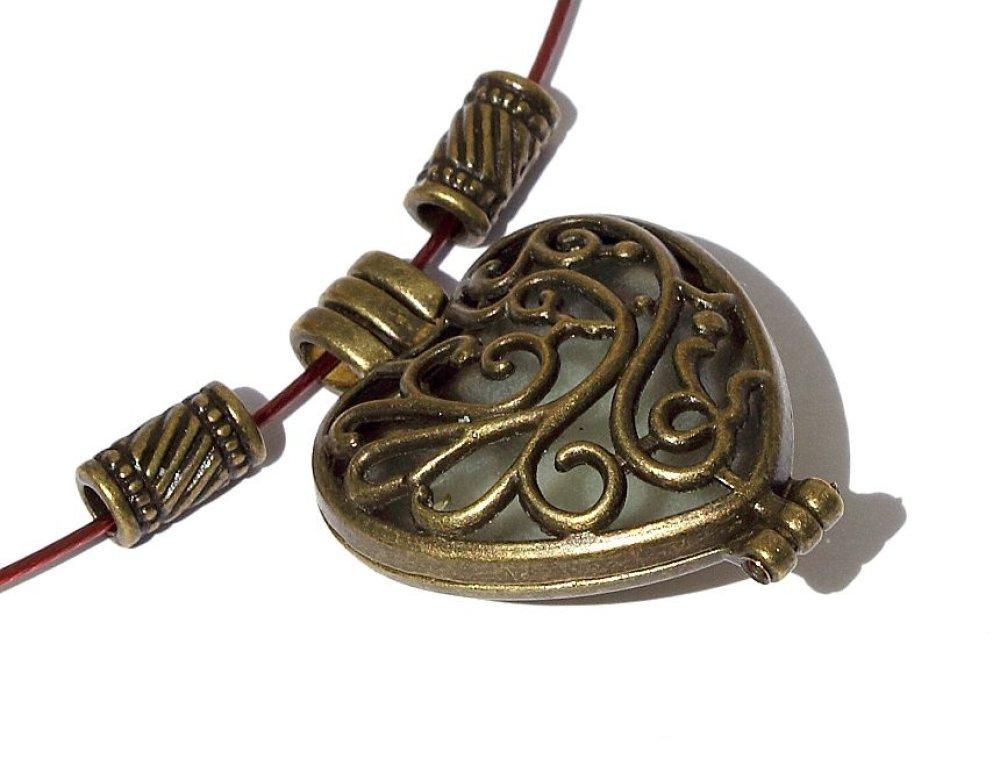 "Collier ras de cou avec pendentif coeur en bronze : ""Mon coeur"""