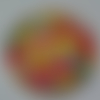 Cabochon, liberty, fleurs, multicolore, verre, rond, 20 mm
