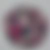 Cabochon avec son image de fleur liberty, rose, multicolore, en verre, rond, 20 mm