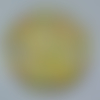 Cabochon avec son image de fleur liberty, jaune, en verre, rond, 20 mm