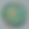 Cabochon avec son image de fleur liberty, turquoise, en verre, rond, 20 mm