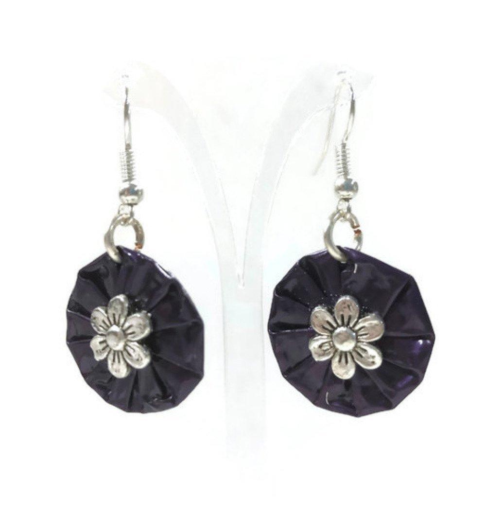 Boucles d'oreille en capsules violettes et argentées