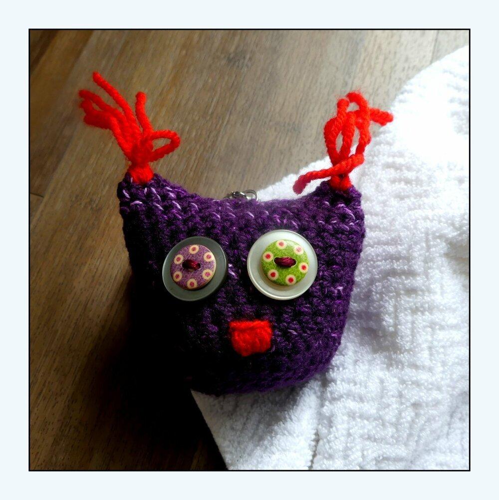 Porte-Clés violet en forme de chouette au crochet fait-main