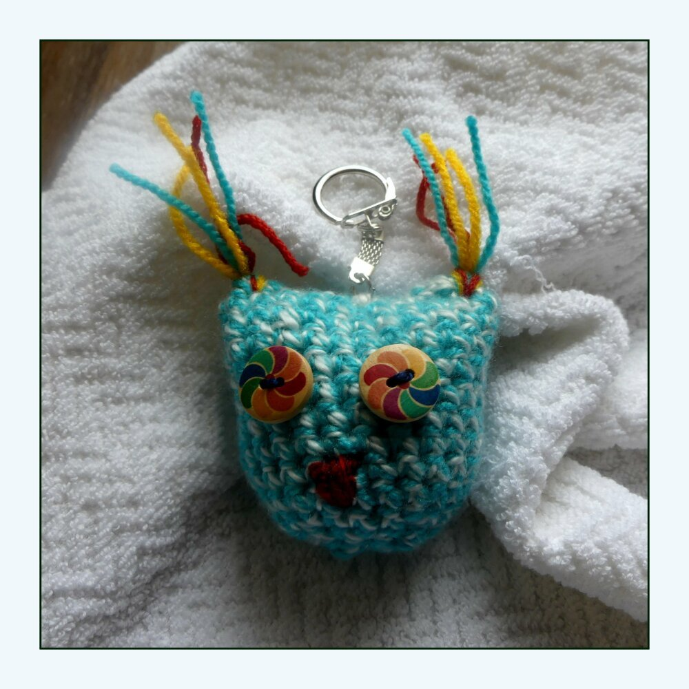 Porte-Clés turquoise en forme chouette au crochet fait-main