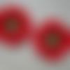 2 coquelicots 5 cm rouge, noir et vert tilleul