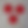 3 flocons rouges au crochet