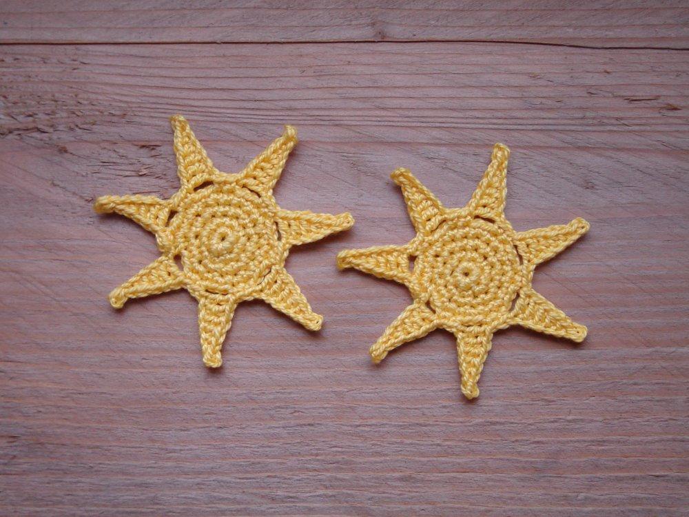Nuages, soleil et arc en ciel au crochet