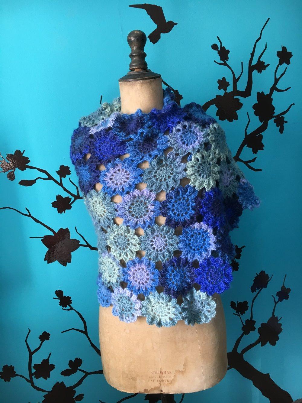 Étole japonaise bleue, chauffe épaules