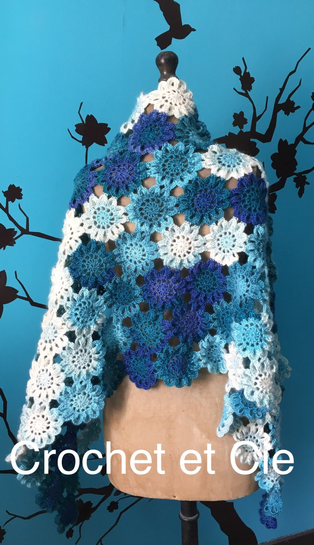 Grande étole japonaise à fleurs , chauffe-épaules