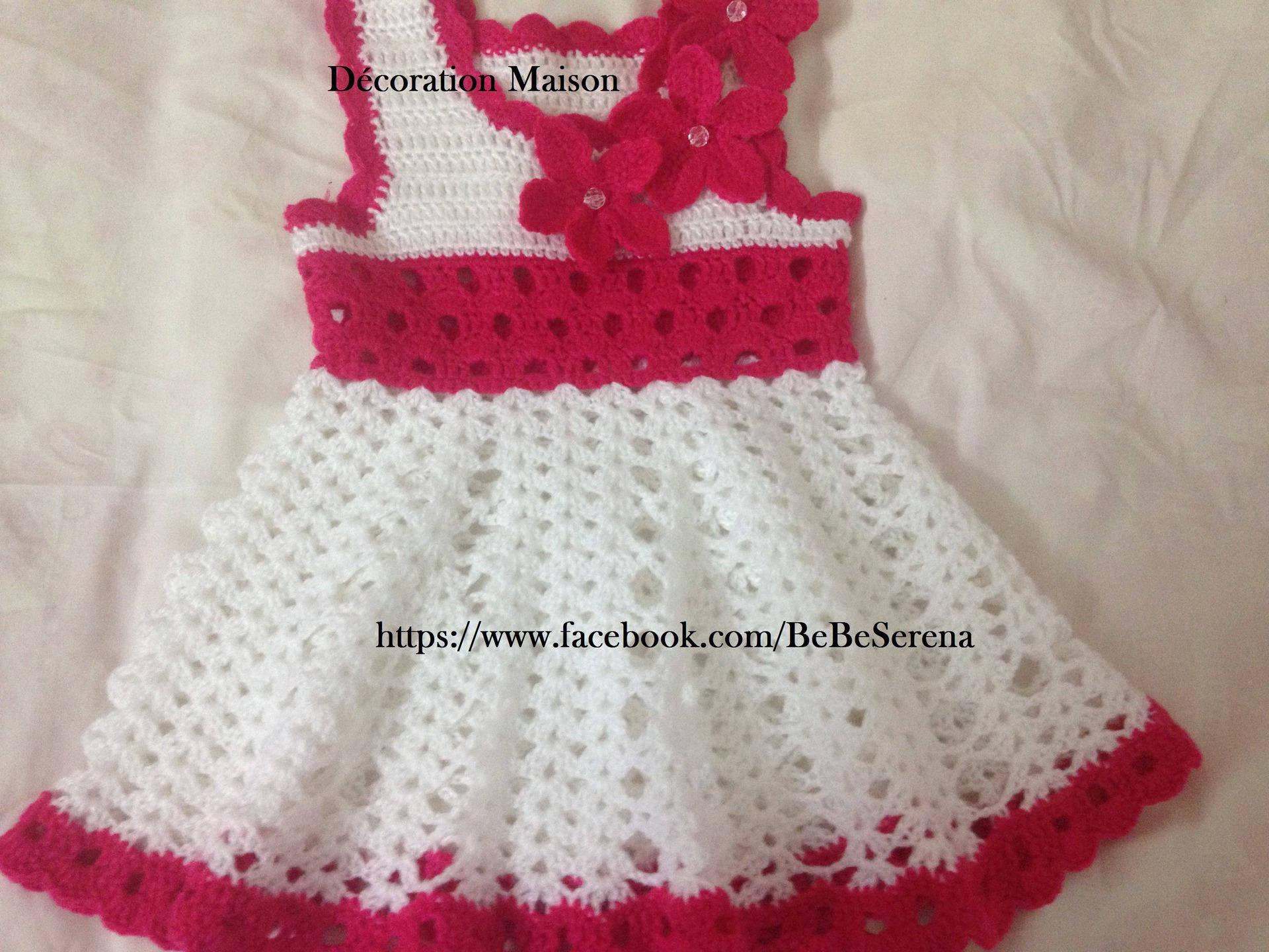 Robes Bébé Mignon Au Crochet Blanc Et Rose Fushia