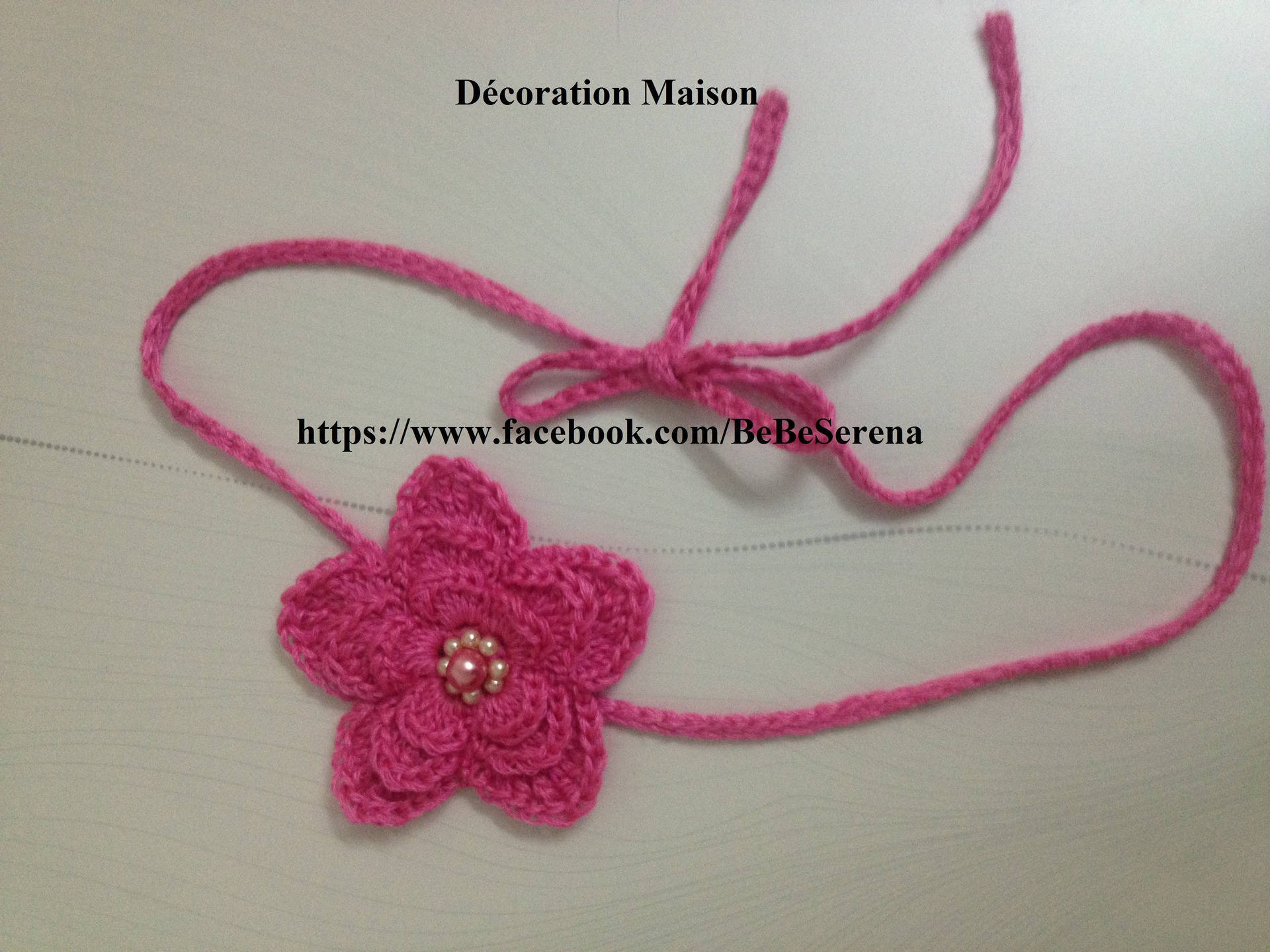 Serre-tête fleur rose du printemps fait main en crochet