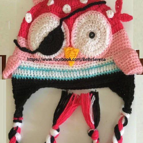 Bonnet chouette le pirate multicolore en crochet