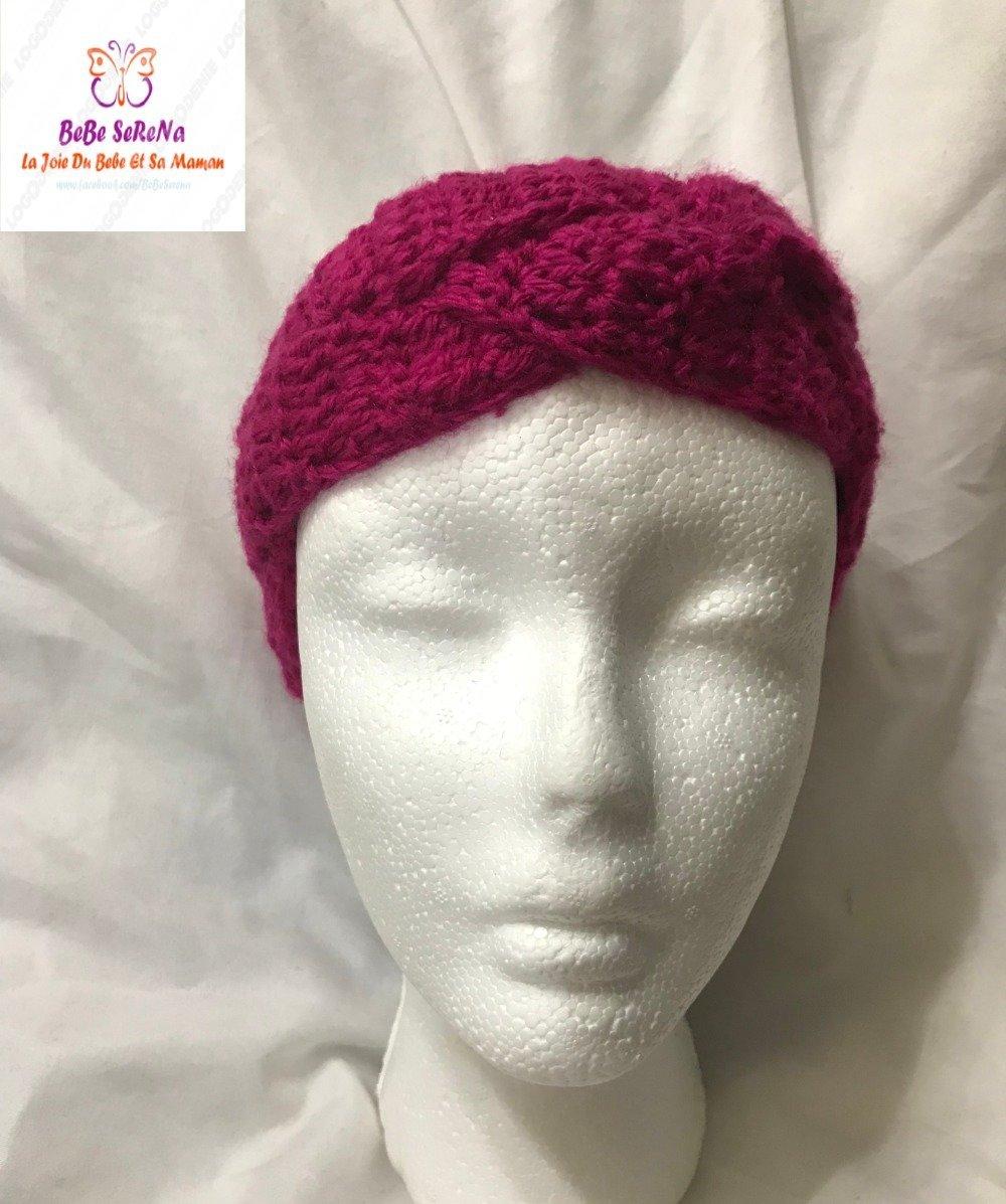 bandana cache oreille tresse à trois brins crochet rose indien fait main