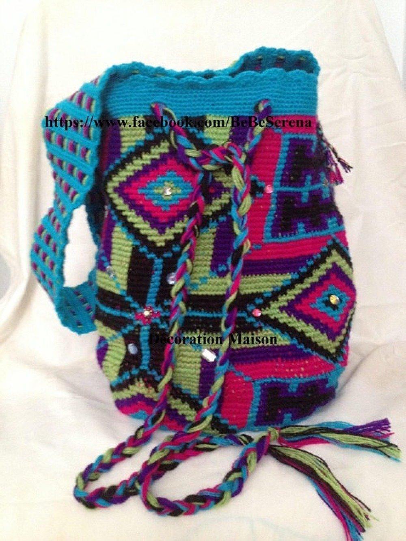 Sac style mochila wayuu multicolore fait main en crochet