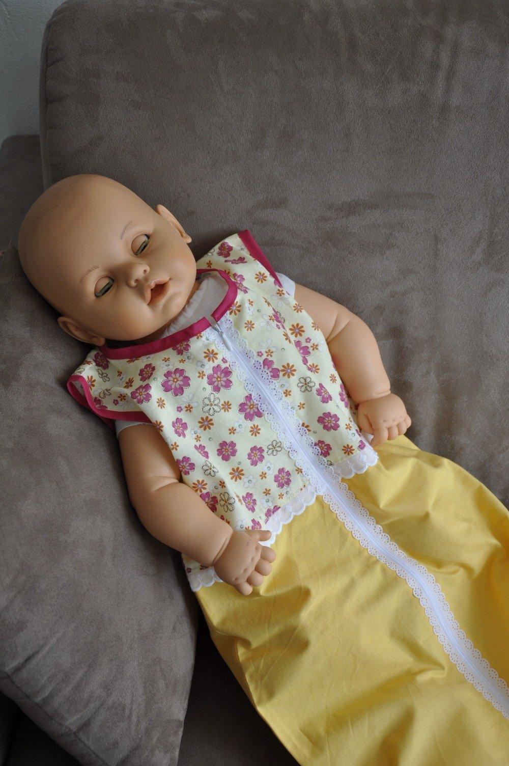 Gigoteuse été fille sans manche, tons jaunes et petites fleurs