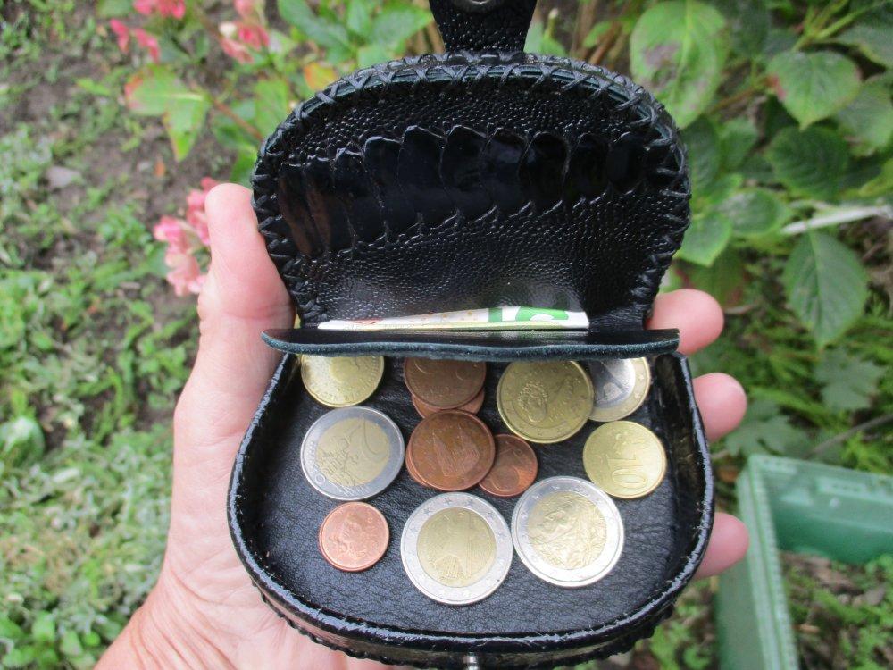 porte monnaie cuir patte d'autruche, cousu main