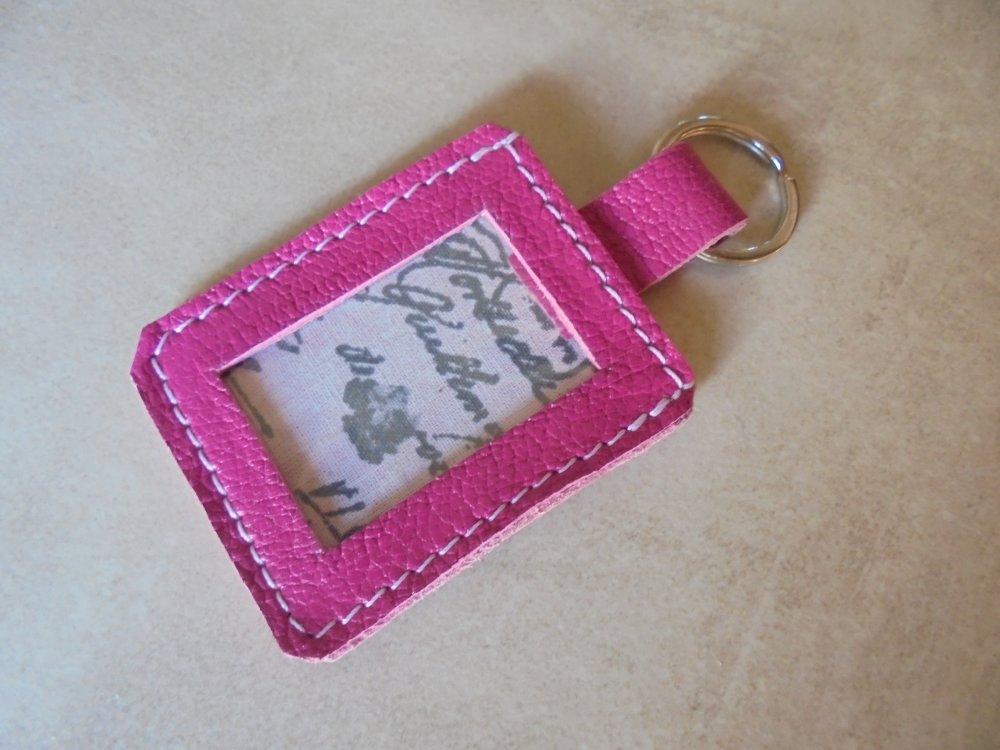 porte clé porte photo en cuir