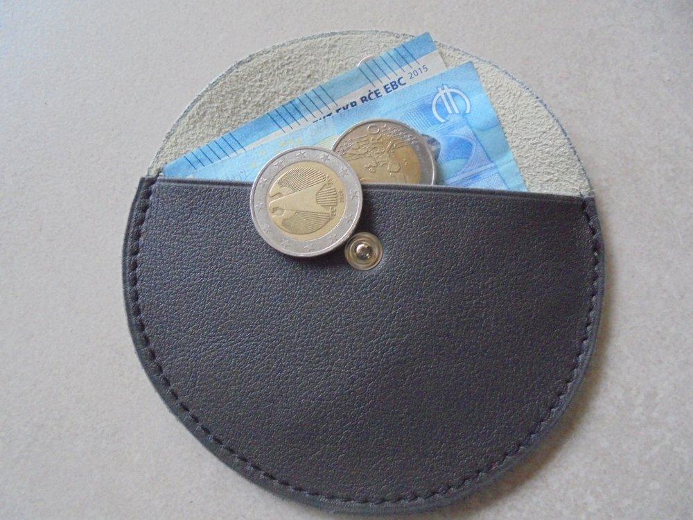 porte monnaie en  cuir demi lune