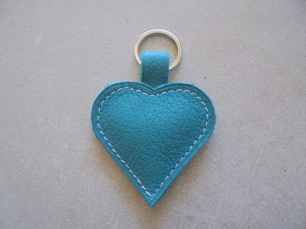 porte clé en cuir vert turquoise