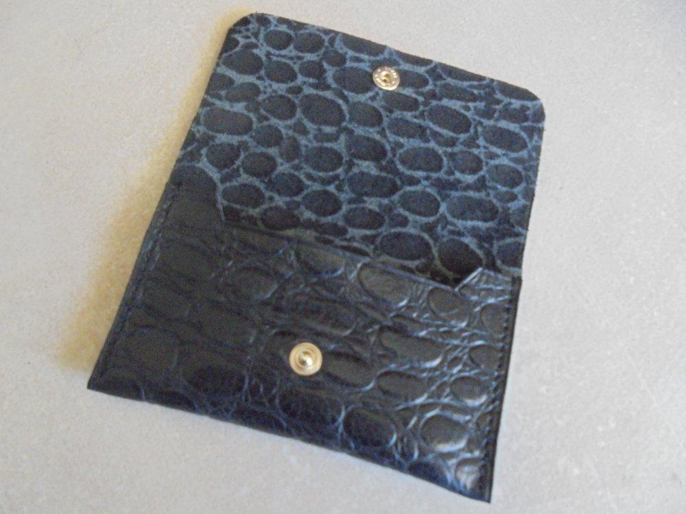 porte carte en cuir noir crocodile