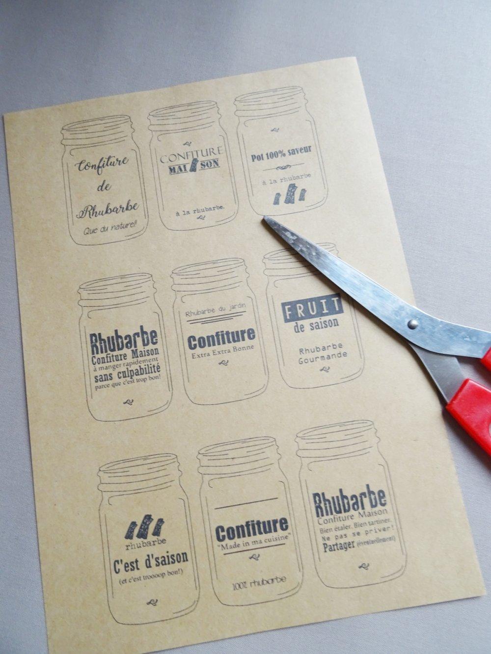 Etiquettes Confitures Rhubarbe Maison à imprimer au format PDF