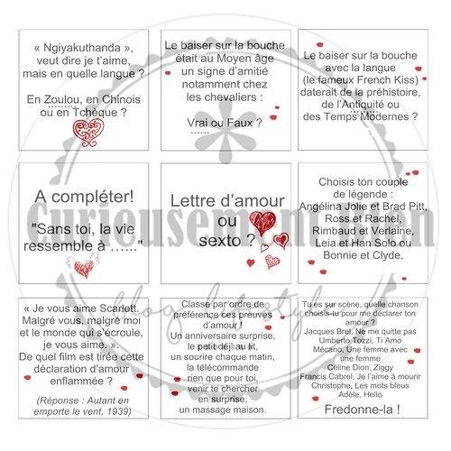 Cartes jeu des amoureux à imprimer au format pdf