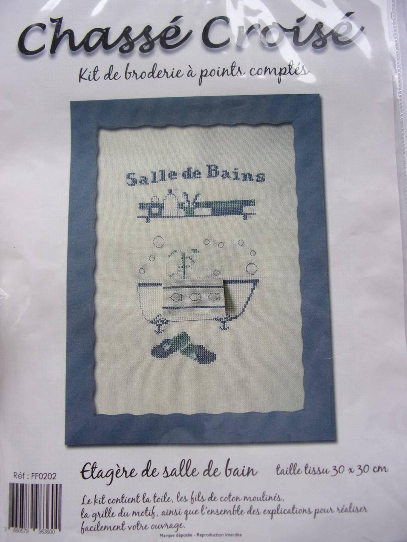 Tableau Salle De Bain kit complet point de croix a points comptés tableau etagere salle de bain  ref. 224