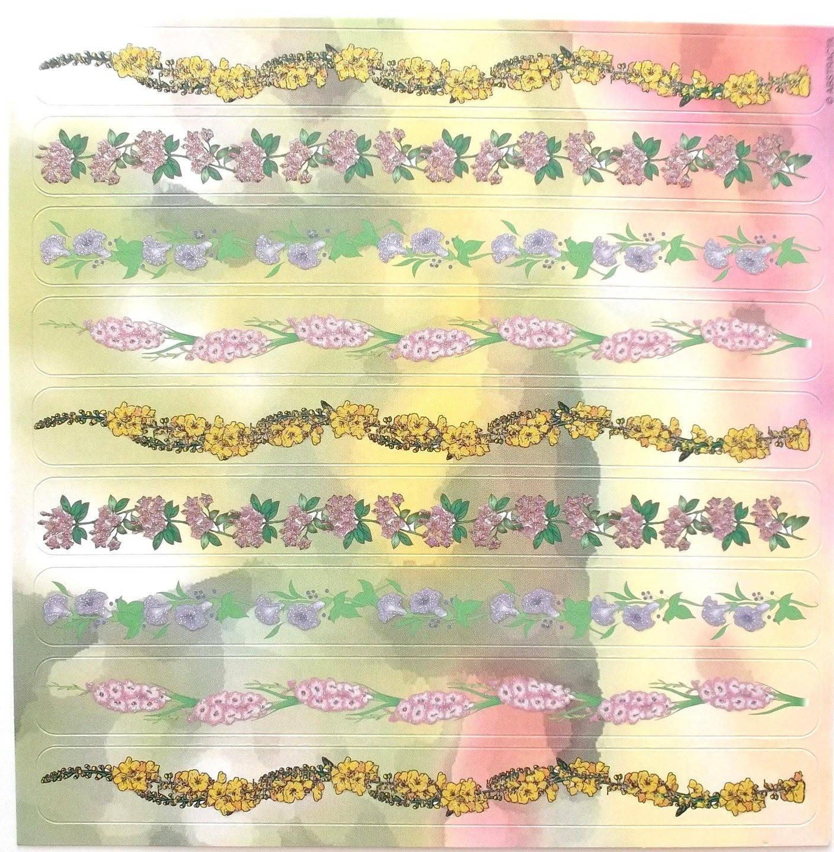 planche de STICKERS  bordures angles motifs FLEURS et PERSONNAGES   ref 757