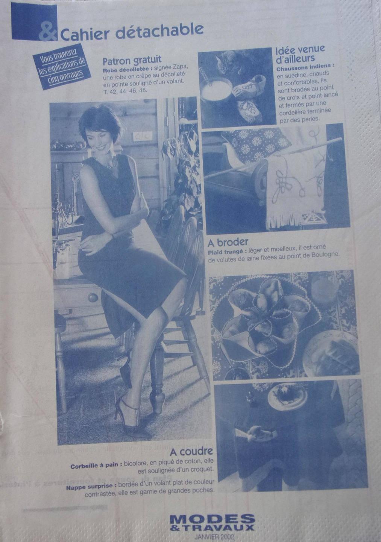 patron  couture modes et travaux  ROBE  femme signée ZAPA  janvier 2002