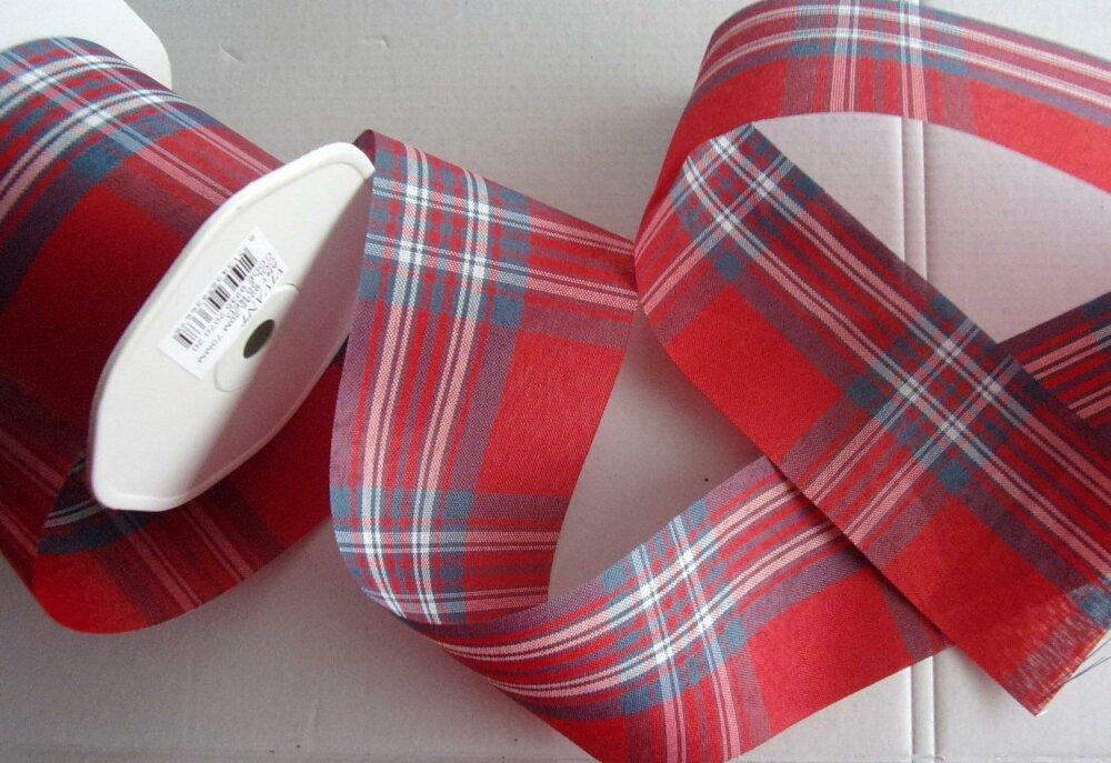 2 mètres de ruban écossais rouge en 2,5 cm