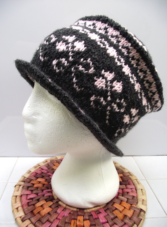 Chapeau en laine, bonnet style anglais en jacquard