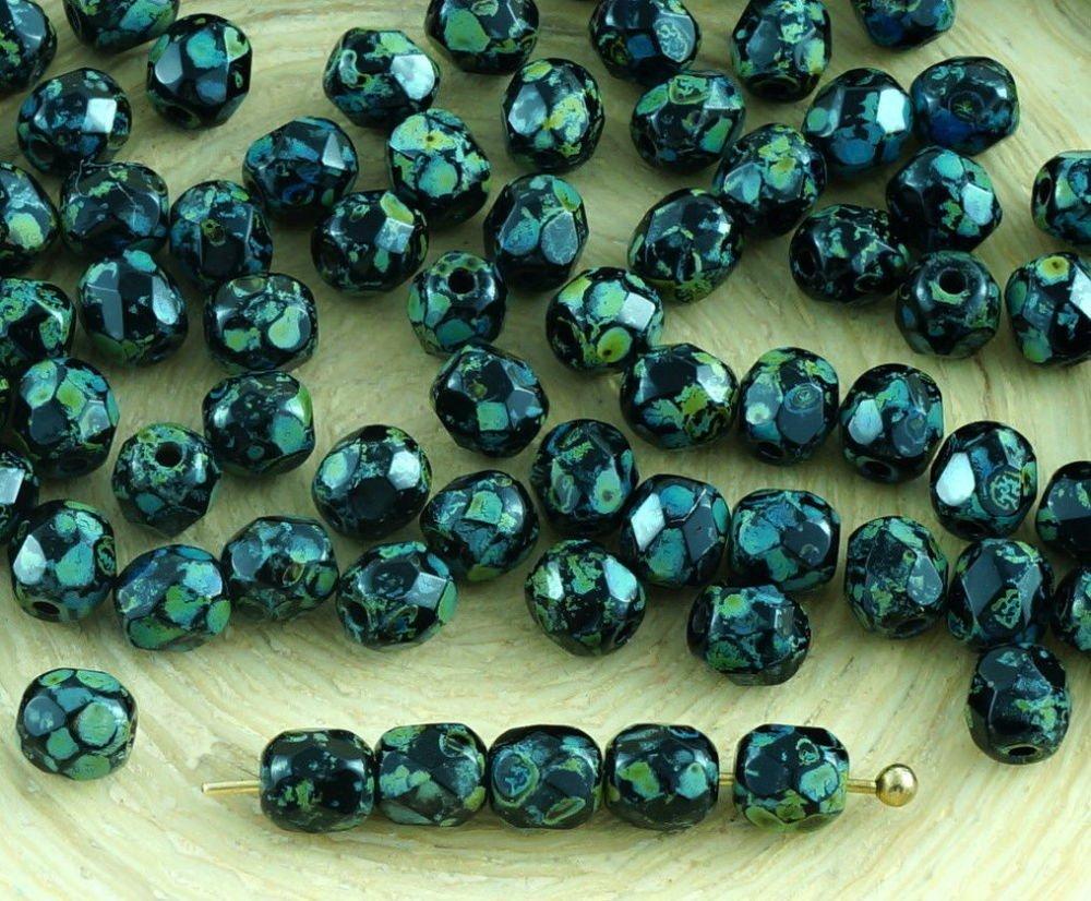 100pcs à Facettes Feu Poli Entretoise tchèque Perles de Verre de 4mm