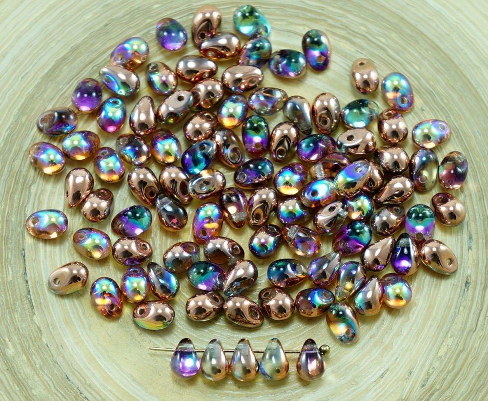 40pcs Mat AB Vert Verre tchèque Petite Larme Perles de 4 mm x 6 mm