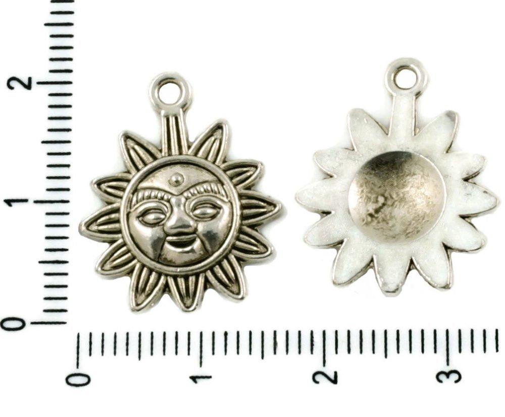 10Pcs Argent Antique Ton Plat De Soleil Aztèque Maya Pendentif Charms Bohème Métal Conclusions 17Mm  SKU-37495