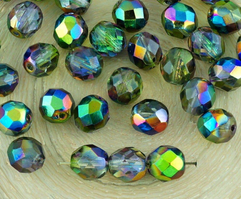 20Pcs Cristal Magique Metallic Pourpre Vert Demi-Rond À Facettes Feu Poli Entretoise De Verre Tchèqu SKU-34635