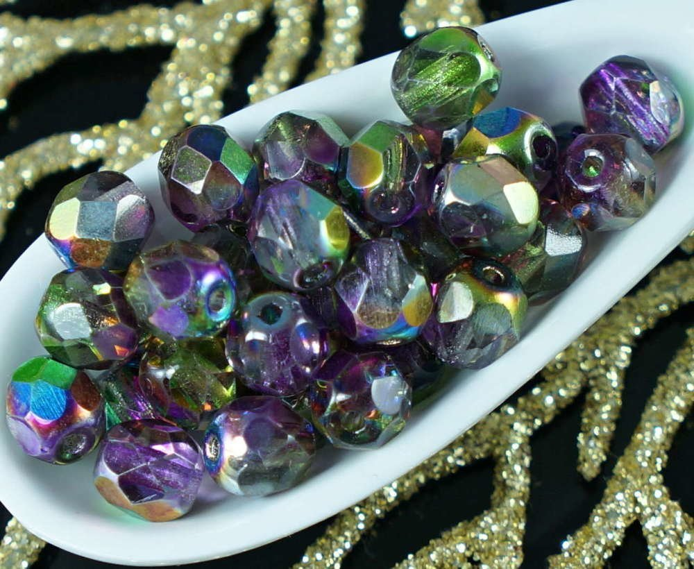 La Magie Violet Vert Cristal Tchèque En Verre À Facettes Feu Poli Perles Rondes 6Mm 40Pcs SKU-19008