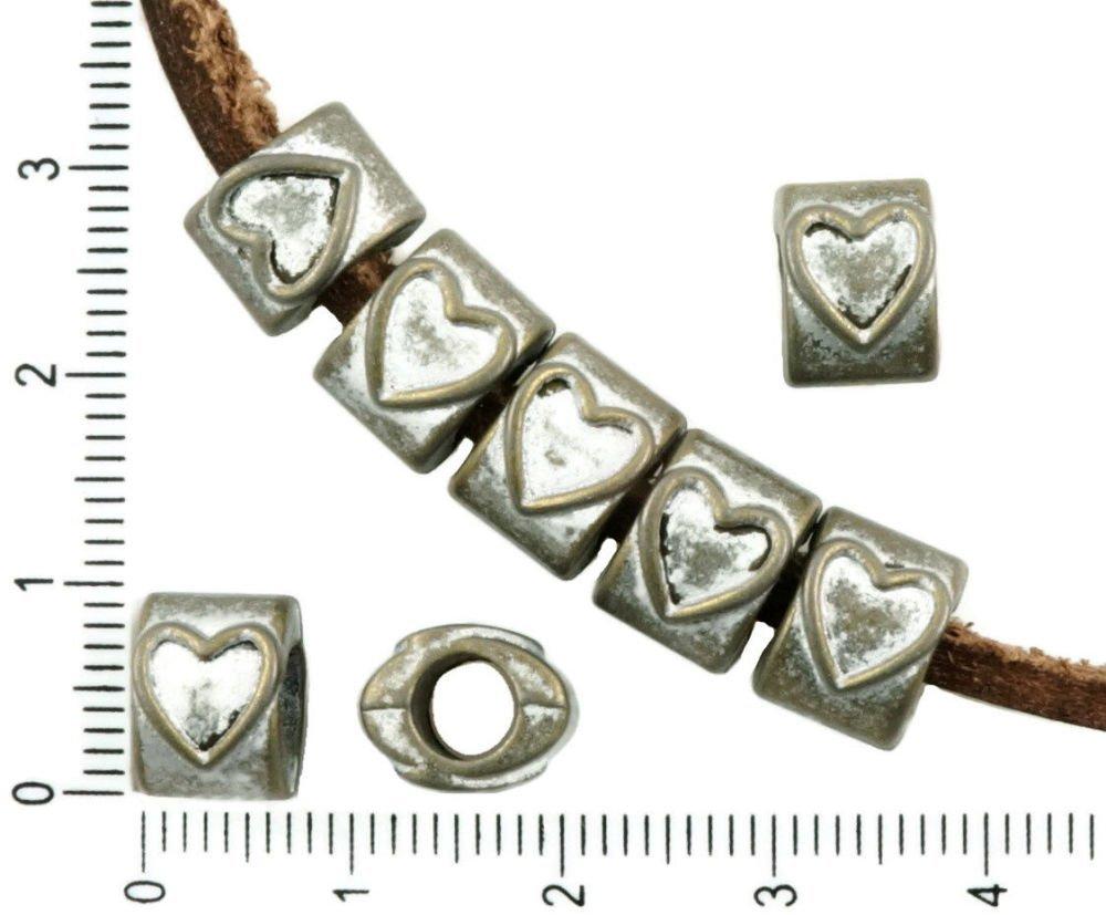 8Pcs Bronze Antique Ton Argent Mat Patine Laver De Grandes Trou Ovale Européenne Pandora Style De Co SKU-37144