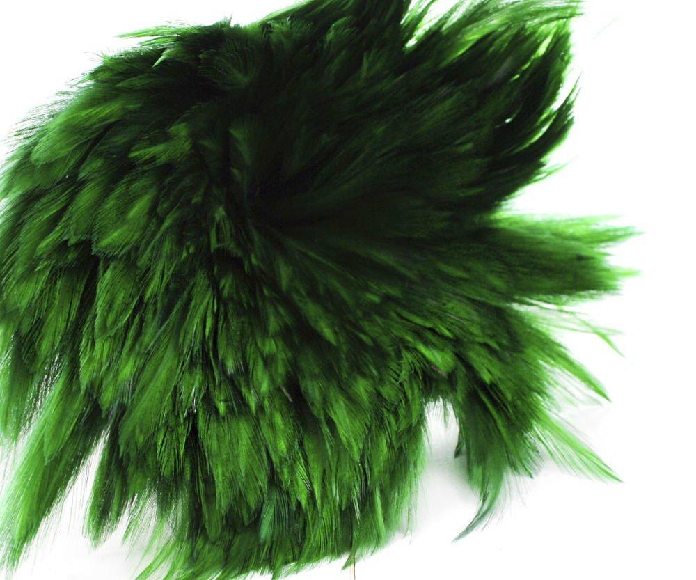 40Pcs Vert Émeraude Teint Les Plumes De Coq Pendentif Boucles D'Oreilles Bijoux De La Chapellerie Se SKU-39368
