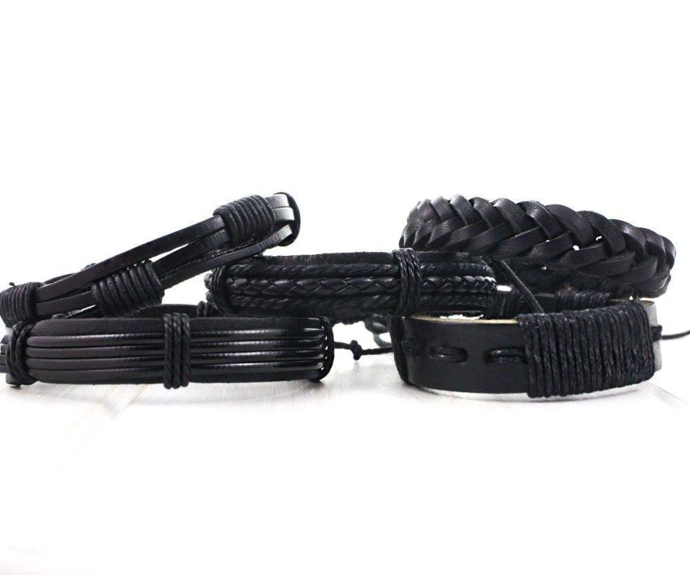 5Pcs Mixte Noir Cordons De Cuir D'Unité Centrale Unisexe Réglable Bracelet De Base Avec Ciré Corde D SKU-38843