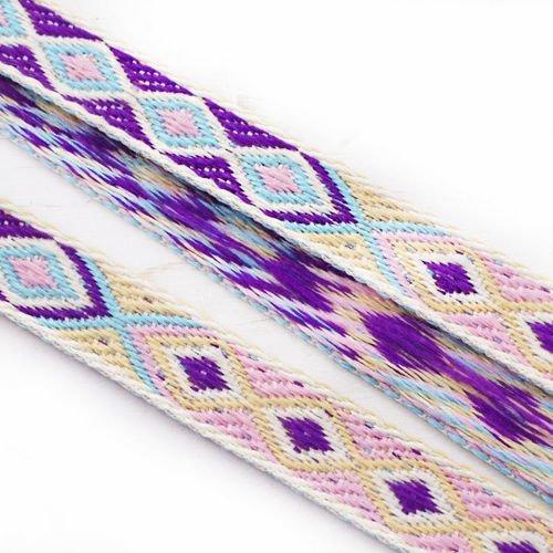 2m 2.18 yrd 6.56 ft bleu rose violet jaune bobo natives de style ethnique en coton tissé garniture d sku-39920