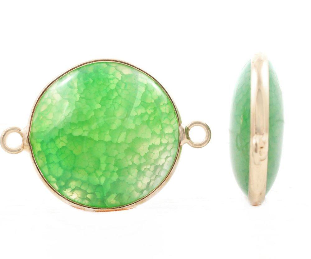 Couleur De L Emeraude 1pc vert émeraude agate veines de dragon d'or de couleur argenté ronde de  pierres précieuses connect sku-41481