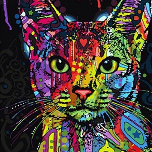 1pc Arc En Ciel Multicolore Chat Hippy Animal De Compagnie Acrylique Bricolage Peinture Par Numéro D Sku 42561
