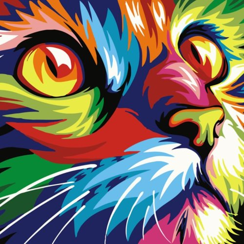 1pc Arc En Ciel Multicolore Tête De Chat Hippy Animal De Compagnie Acrylique Bricolage Peinture Par Sku 42578