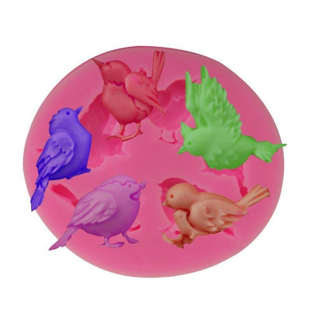 5 Oiseaux Mélange De Design De La 3D En Silicone De Chocolat Savon Gâteau Fondant L'Argile De Résine SKU-76197
