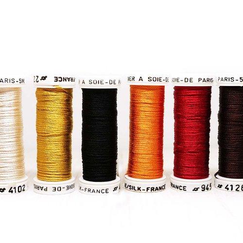 6 bobines de mélanger automne nuances pack de 6 teintes de paris au ver a soie la française de fil d sku-121656