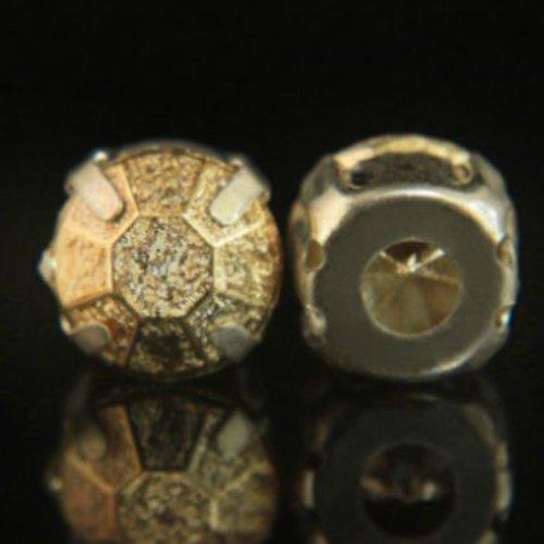 25pcs or rond acrylique de feuille de laiton coudre sur les facettes des pierres cabochon pierre pré sku-133760