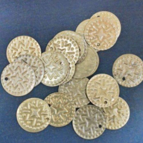 16pcs bronze ronde en or pièce de monnaie en laiton coudre sur la lentille pendentifs de charme de b sku-133763