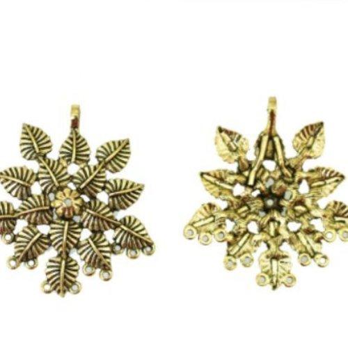 2pcs de bronze d'or fleur en laiton multihole connecteur pendentif charme de bijoux indiens 50mm x 4 sku-133764