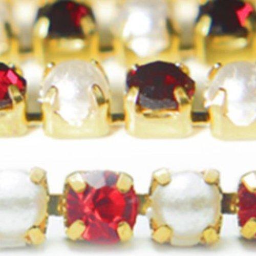 1m de 1 1 mètres de rouge rubis nacré coupe de la chaîne en laiton strass garniture de bijoux en cri sku-133765